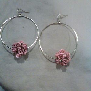 Rose bush hoop earrings